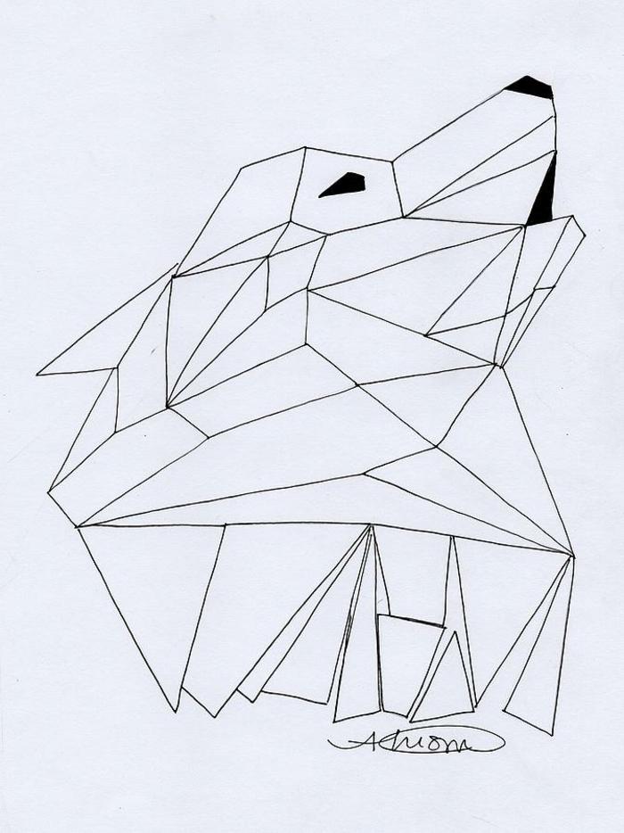 Beau dessin géométrique animaux dessins faciles à dessiner loup