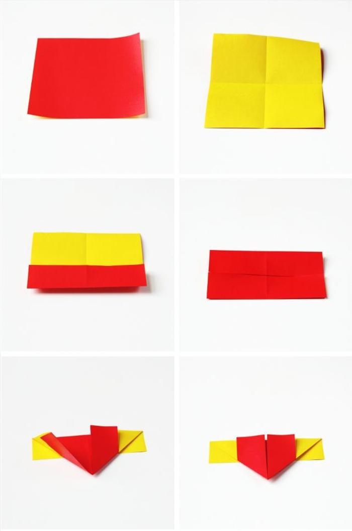 un modele origami coeur avec des ailes facile à réaliser par les débutants dans l art du pliage de papier