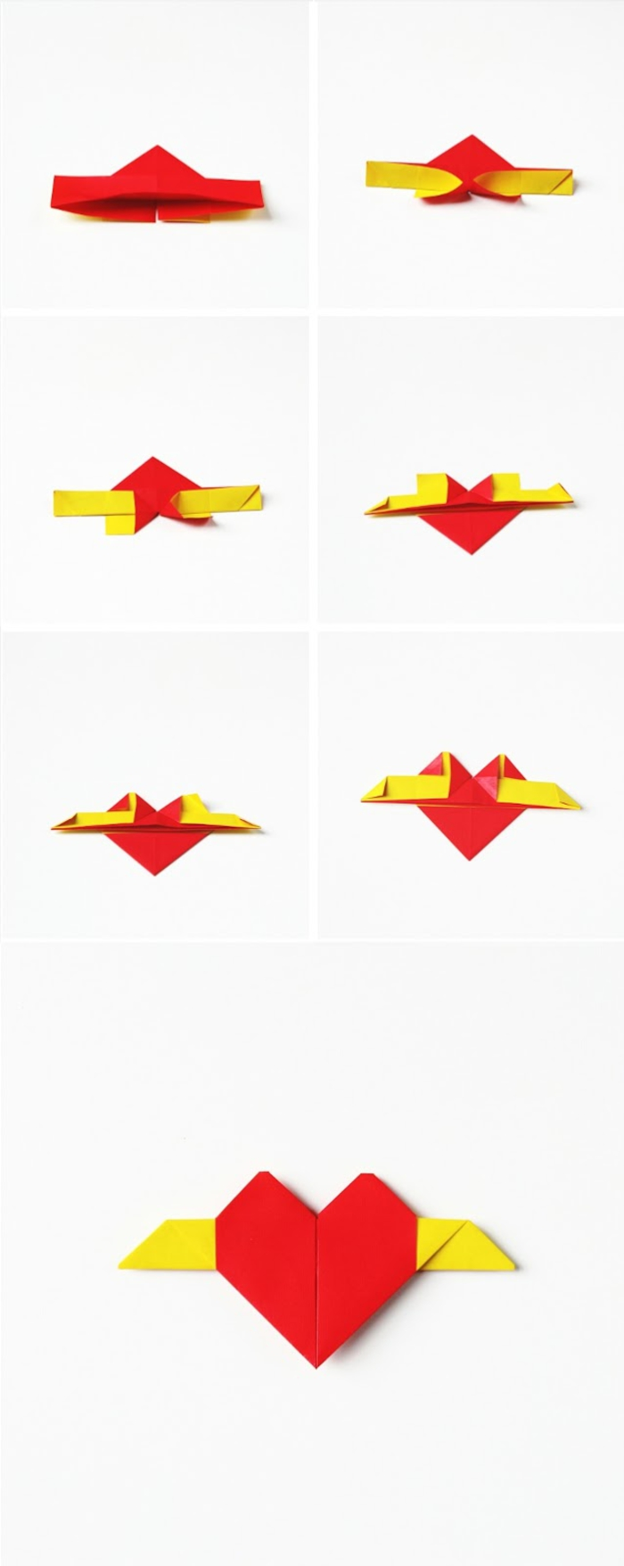 petit projet de pliage origami pour réaliser un modèle de coeur ailé en origami, idée pour un bricolage facile pour la saint-valentin