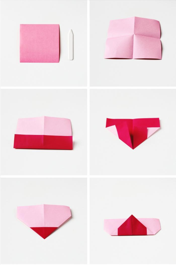tuto pliage papier pour réaliser un marque-page origami en forme de coeur, idée de bricolage facile pour la saint-valentin