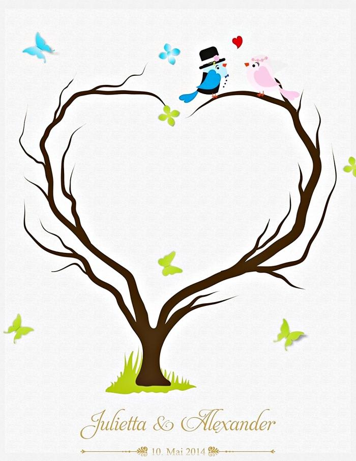 couple d'oiseaux amoureux et un arbre avec branches en forme de coeur comme symbole d'amour éternel