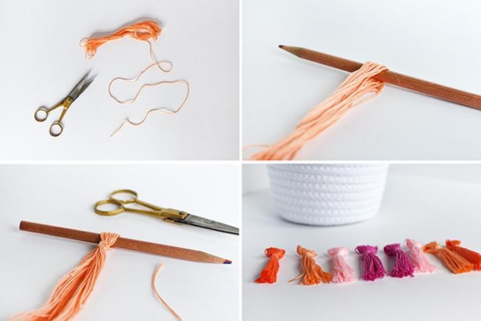 idée d activité manuelle adulte, comment faire un pompon à franges pour décorer un panier de paques