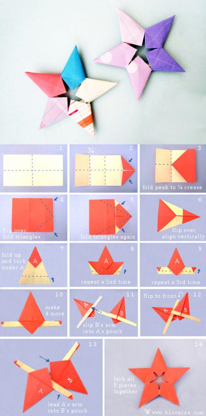 modele origami étoile originale multicolore, fiche de pliage pour réaliser un joli modèle d'origami avec les étapes en photos