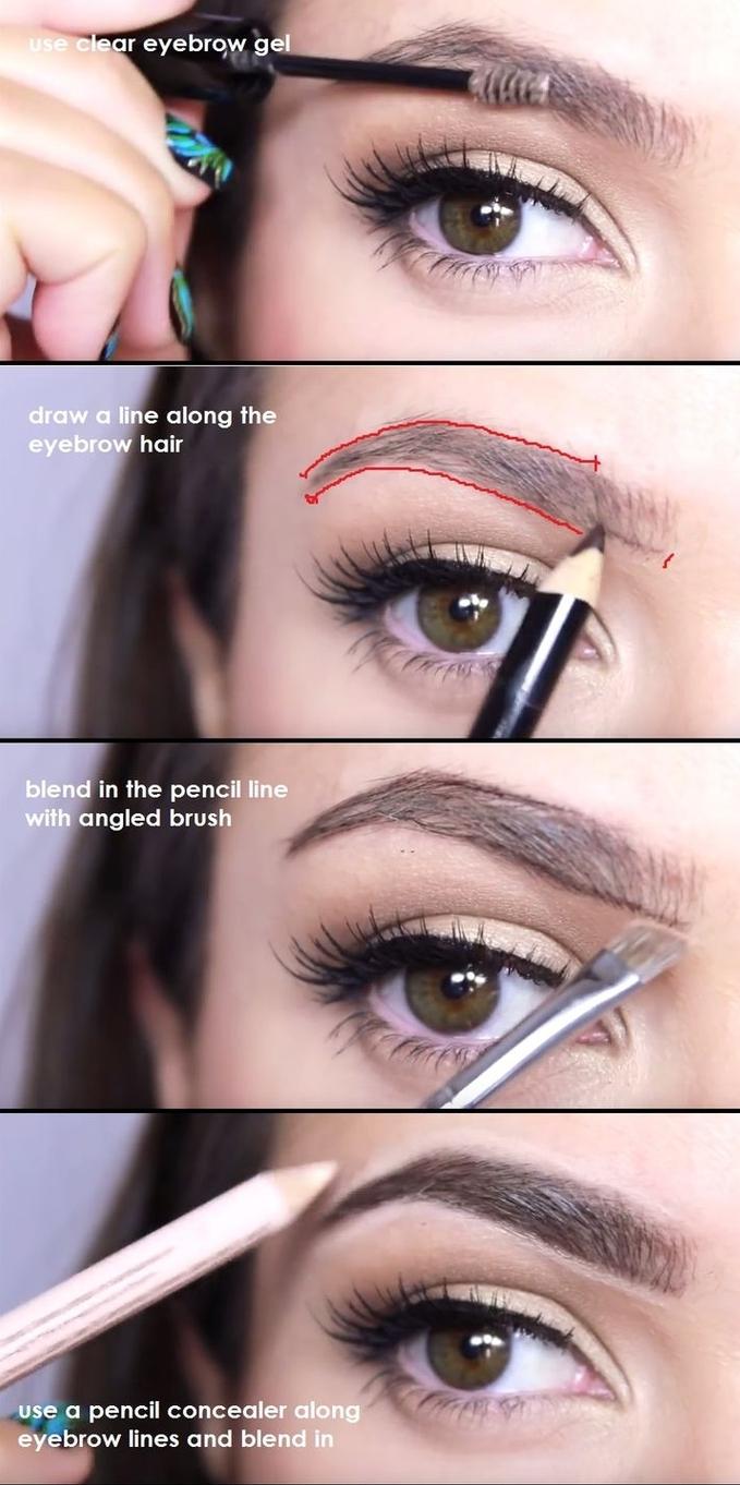 comment avoir de beaux sourcils au contour bien dessiné, tuto maquillage des sourcils arqués