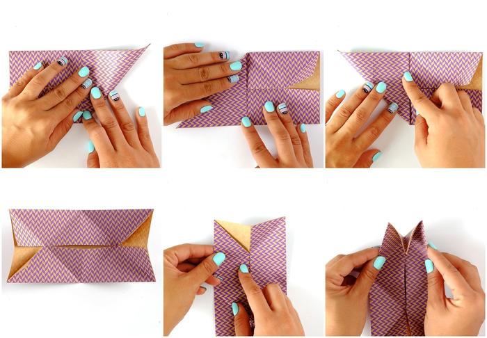 les étapes de pliage d'un modele origami 3d qui sert aussi de support pour smartphone