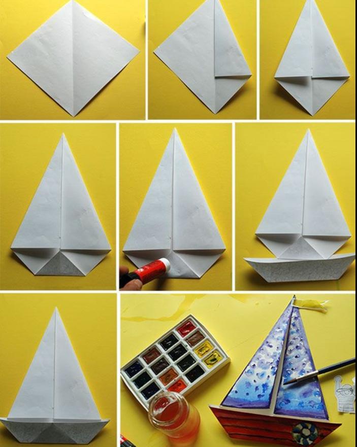 comment faire un bateau origami décoré à l aquarelle, pliage facile expliquée étape par étape