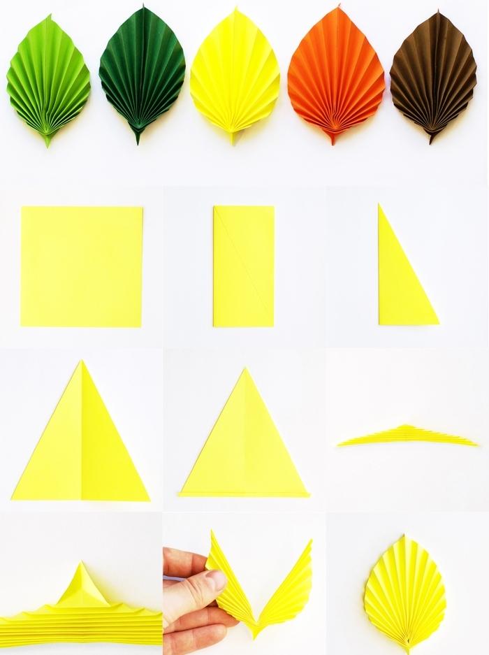 pliage origami de feuilles colorées avec lesquelles on peut réaliser une jolie guirlande ou une couronne déco