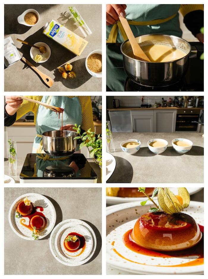 comment faire creme caramel au lait de soja à la vanille, sucre roux et agar agar, dessert facile a faire soi meme
