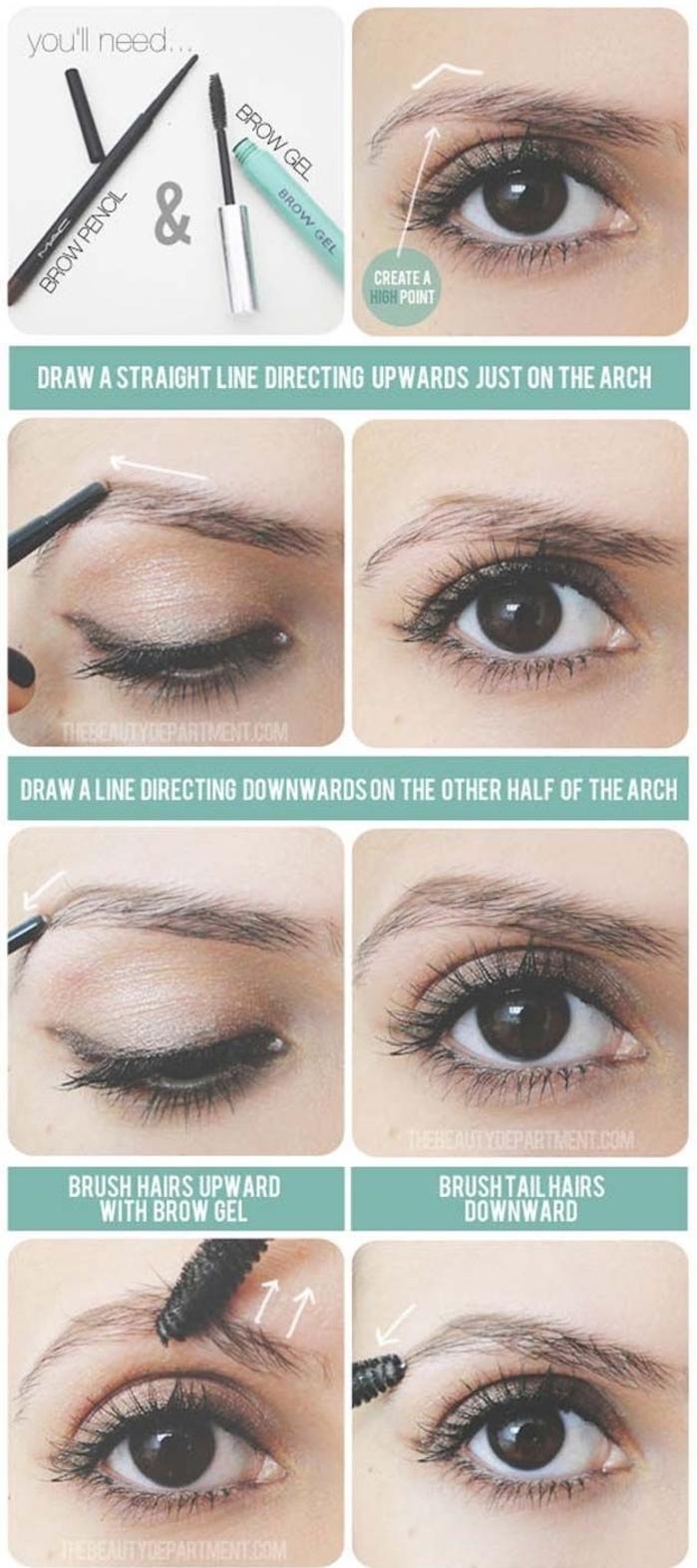 comment définir les sourcils arqués, maquillage des sourcils pour agrandir le regard