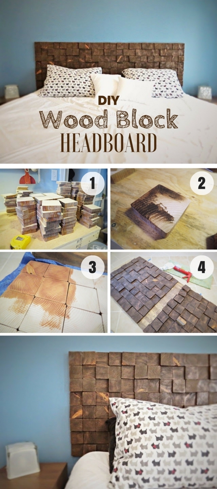 un tuto tete de lit originale réalisé en pavés de bois repeint pour donner un accent moderne à la chambre à coucher