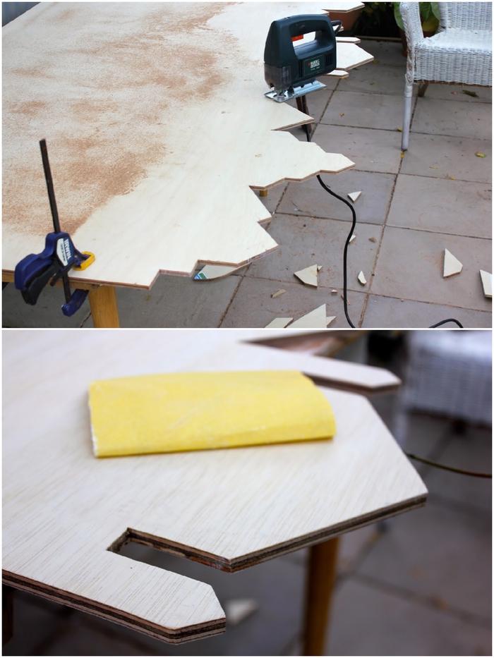 idées déco à petits prix pour la chambre à coucher, fabriquer une tête de lit en bois au design original