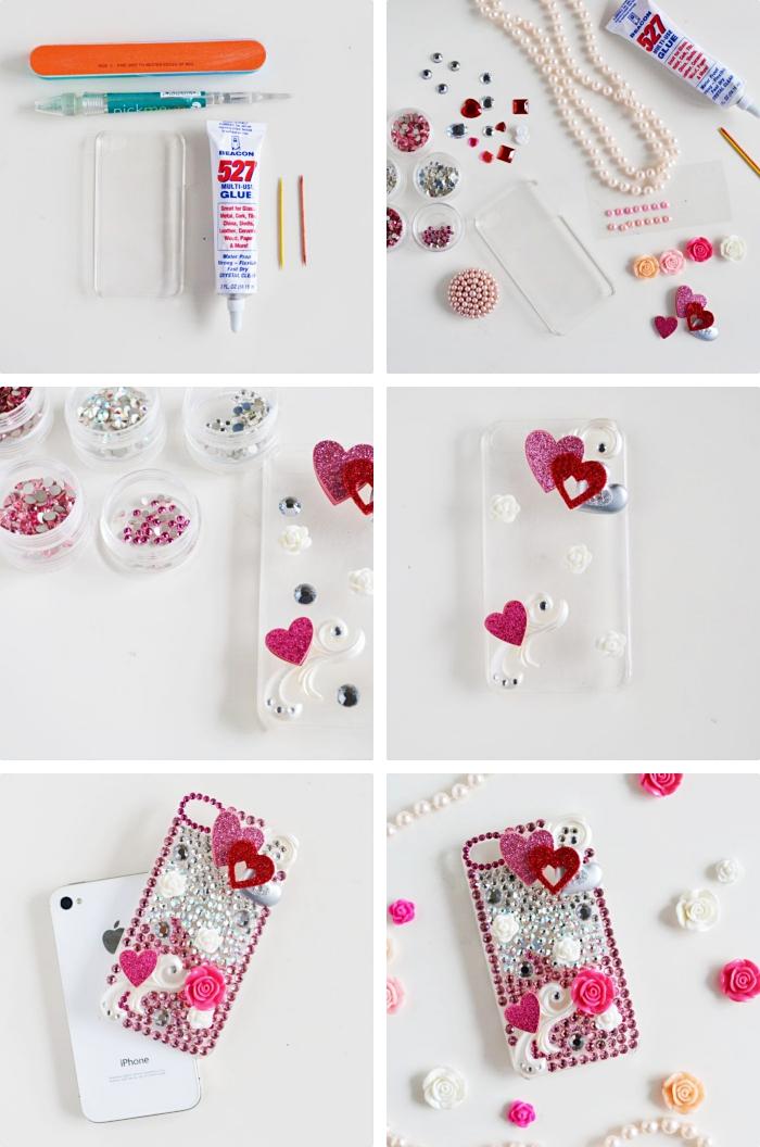 étapes à suivre pour réaliser des coques personnalisées avec petites fleurs et plusieurs embellissements scrapbooking en rose et rouge