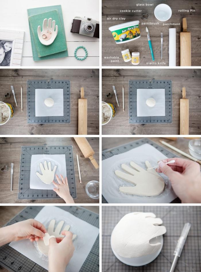 bricolage fete des grand mere à fabriquer à l'aide des enfants, faire un porte-bijoux en empreinte main enfant