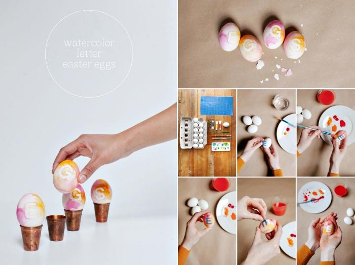 étapes à suivre pour décorer facilement avec peintures acryliques de différentes couleurs et lettres en papier