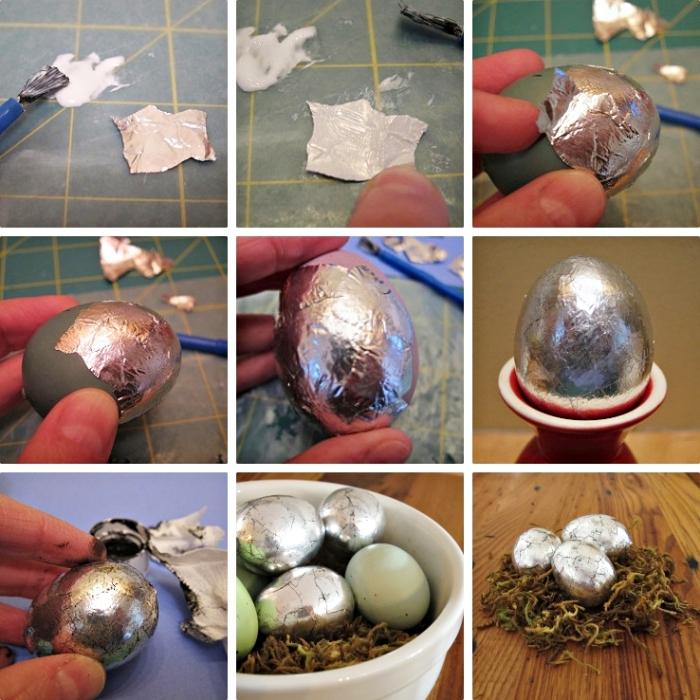 étapes à suivre pour créer un effet métallique de sorte oeuf de dragon à l'aide de folio aluminium et colle