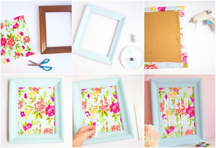idée d activité manuelle adulte, un cadre photo repeint en bleu clair avec décoration de tissu à imprimé floral shabby chic avec des lettres blanches bonjour, printemps