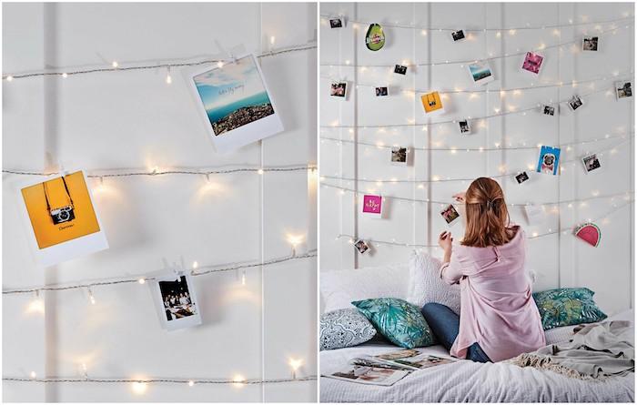 exemple comment fabriquer une tete de lit lumineuse avec guirlande de noel et pele mele de photos instagram, linge de lit blanc et gris, coussins décoratifs exotiques