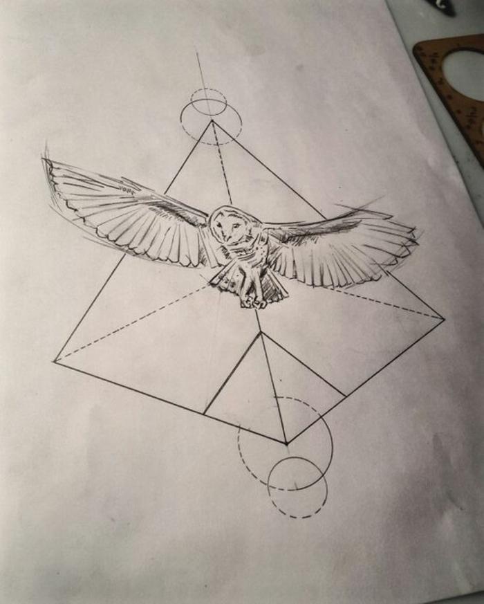 Idée dessiner des figures géométrique comment dessiner hibou