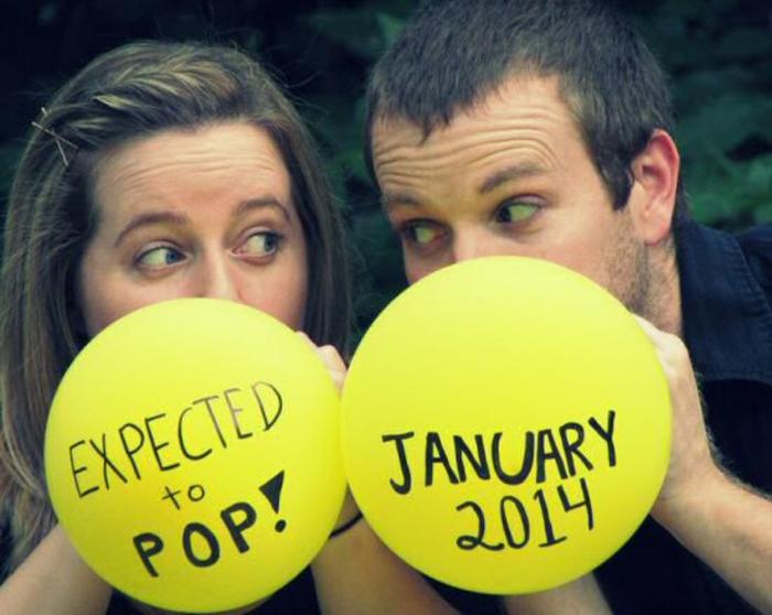 deux ballons gonflés pour annoncer qu'on est enceinte, idées créatives pour dire la meilleure nouvelle