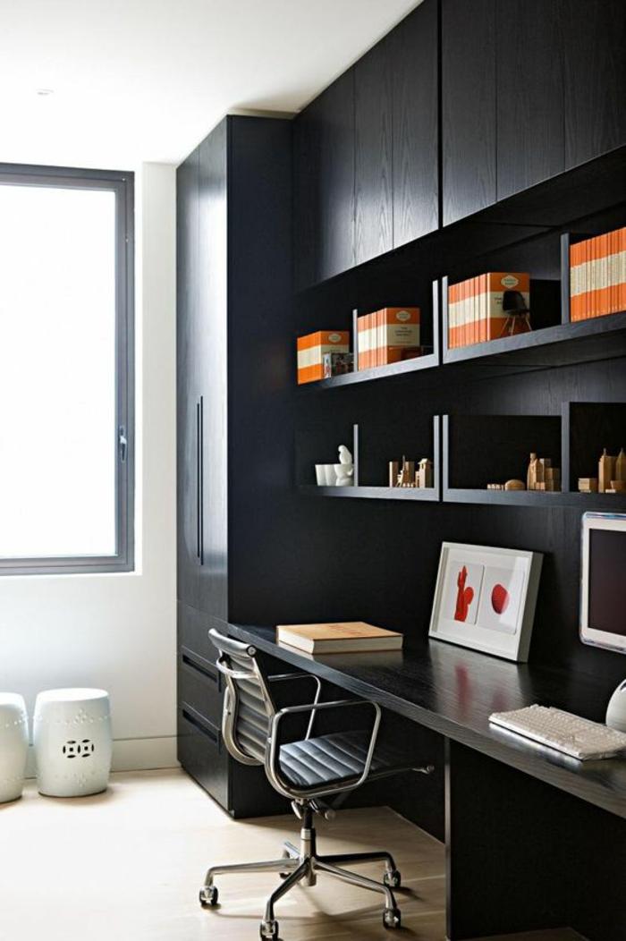 decoration interieur appartement, déco chambre étudiant, chambre 9m2, meubles noires, parquet couleur sable