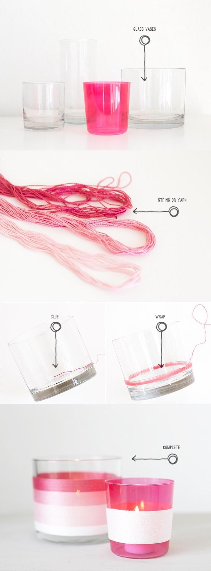petits bougeoir simple fabriqué dans un pot en verre avec décoration de fils de laine colorées en rouge et rose, idée d activité manuelle
