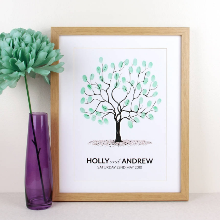 décoration d'intérieur avec objets sentimentaux, poster aux empreintes vertes et un arbre symbolisant l'amour et la famille