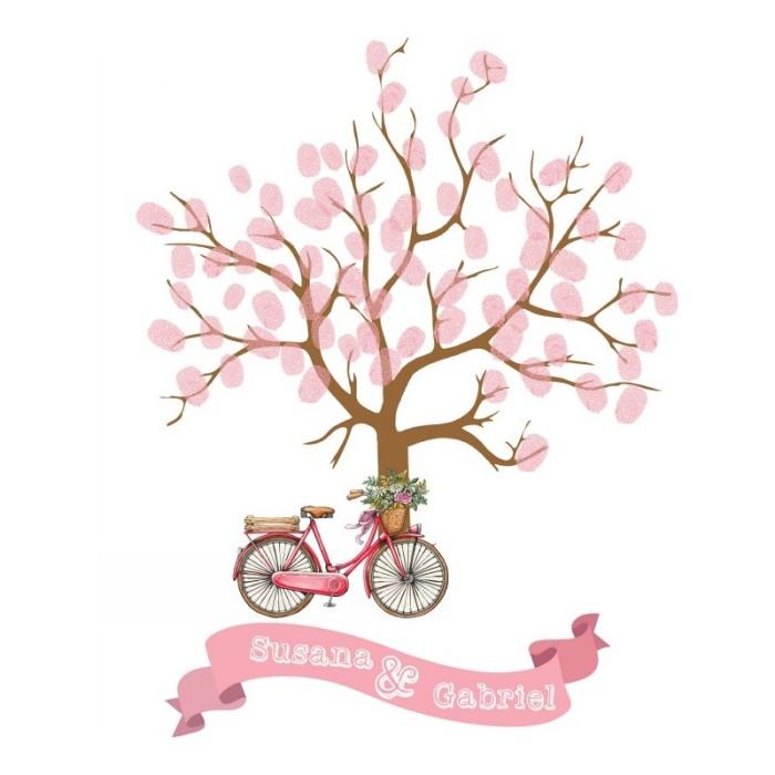dessin adorable avec un vélo décoré de fleurs et un arbre au feuillage d'empreintes rose, souvenir de mariage original
