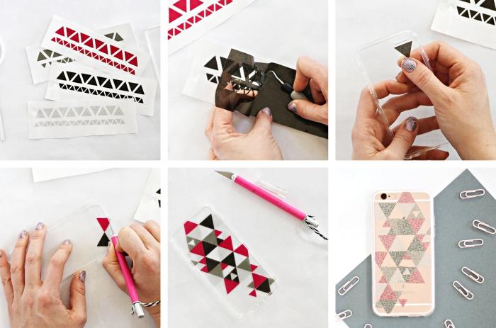 tutoriel avec les étapes à suivre pour faire une coque de telephone personnalisé à design géométrique en rouge blanc et noir
