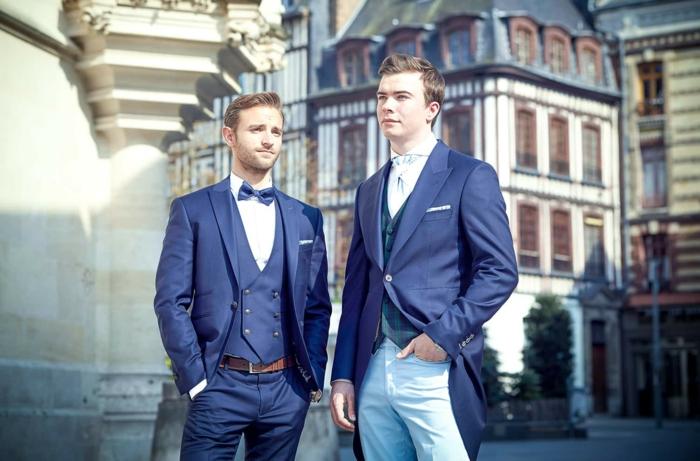 allures de gentlemans, costume 3 pièces homme, costume nœud papillon, costard mariage, un look avec pantalon bleu roi et un look avec pantalon bleu ciel