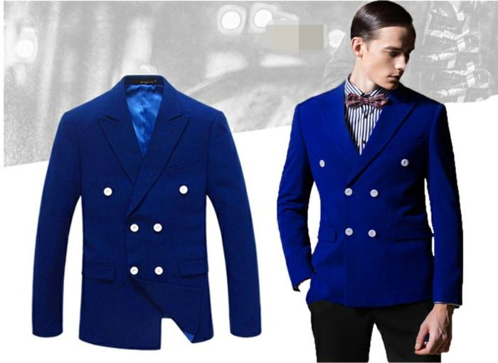 allure dandy, veste de costume homme en bleu roi, six boutons en couleur argent, revers larges, veste assortie avec un pantalon noir de type cigarette