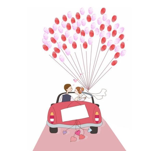 album photo scrapbooking avec couverture à design voiture et jeunes mariés avec un bouquet de ballons empreintes rouge et rose