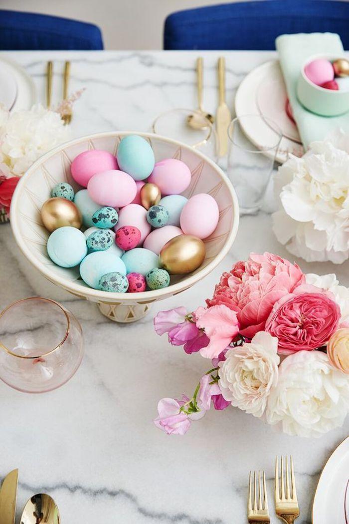 Deco de paques idée déco de Pâques décoration facile table bien rangée paques