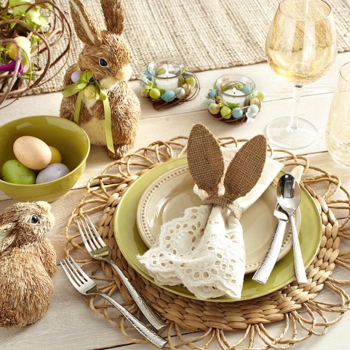 Bricolage de paques déco de Pâques belle déco simple idée serviette lapin oreilles