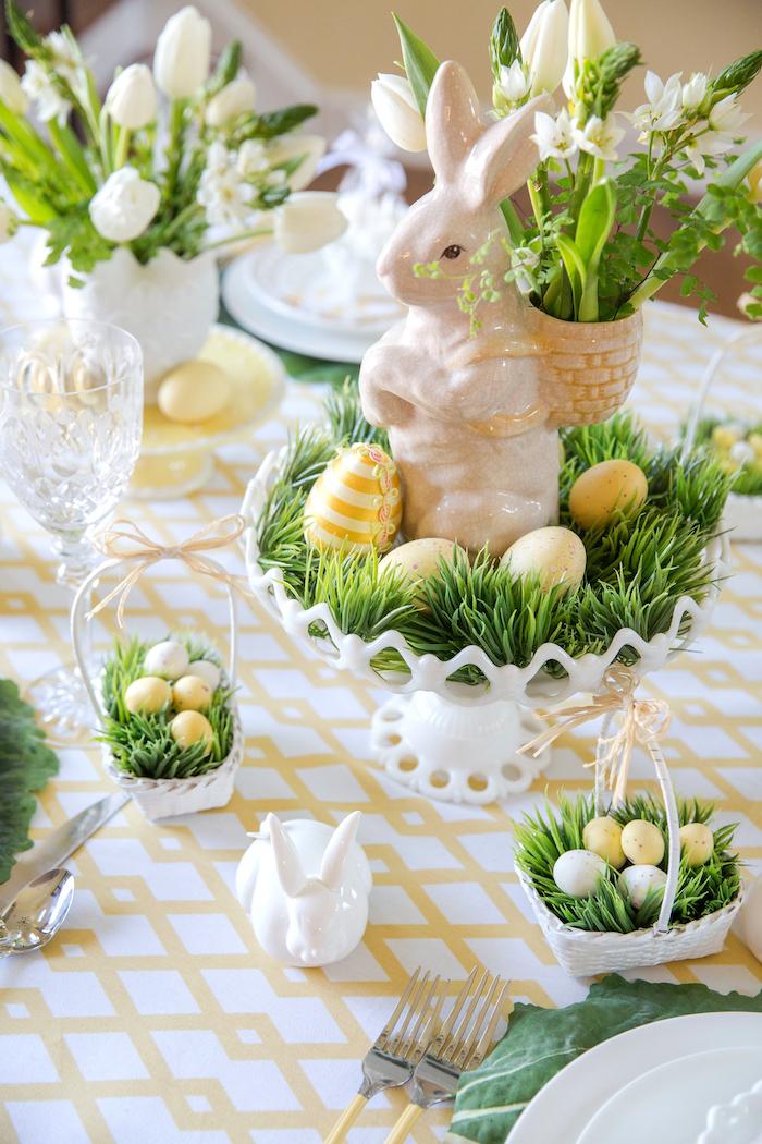 Bricolage paques pour decorer sa table déco de Pâques table festive déco
