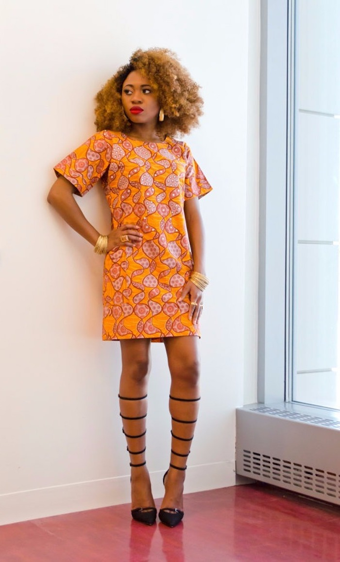 Le modele robe africaine chic robe ethnique africaine chic moderne robe droite orange