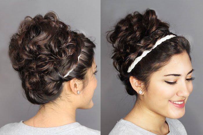 cheveux frisés femme attachés en chignon décoiffé style bohème, coiffure volumineuses sur le haut de la tête, serre tete blanc