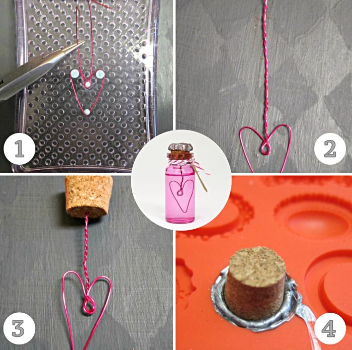 idée pour une surprise à thème felicitation mariage, cadeau invité avec flacon de bulle de savon fait main et fil électrique