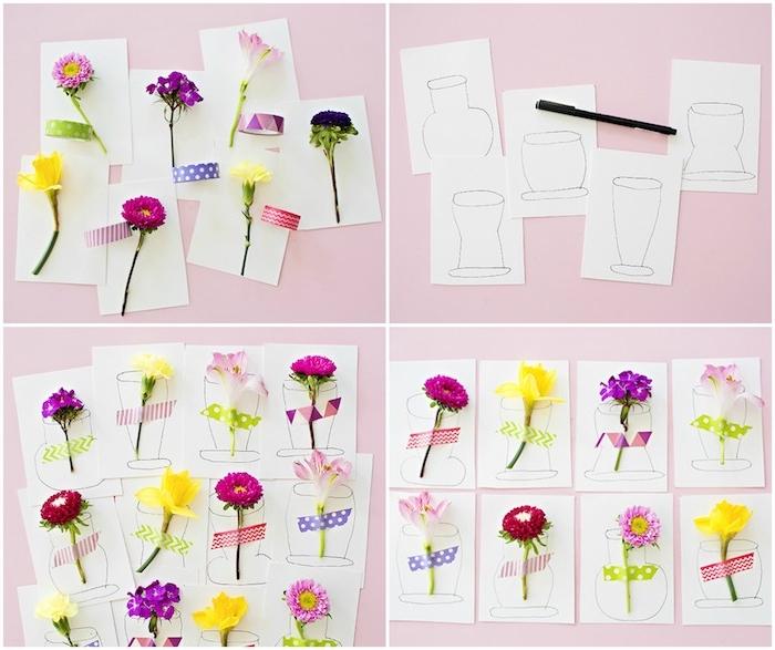 exemple d activité manelle maternelle, des cartons de papier avec des fleurs fraiches attachées avec des bandes de washi tape coloré