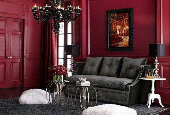 couleur de peinture tendance, sofa gris, petites tables basses, assises blanches, grand chandelier