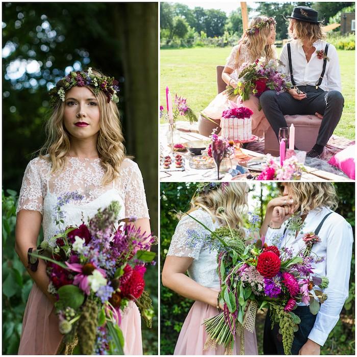 La robe de mariée bohème en deux pièces jupe rose top blanc dentelle robe de mariée originale mariage champetre couronne de fleurs