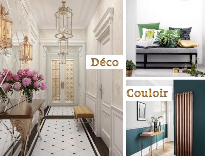 déco couloir en couleurs tendance 2018, intérieur beige et or avec meubles de bois, modèle de carrelage blanc et noir