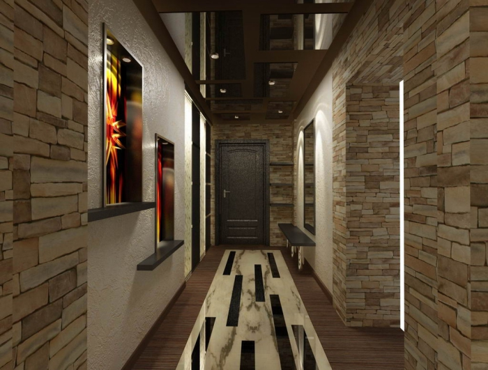 idée déco entrée maison en couleurs foncées avec revêtement partiel des murs en pierre et fenêtre de plafond