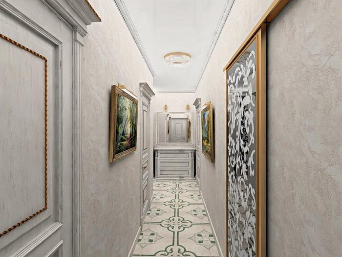 modèle de papier peint beige avec déco en peintures de cadre bois, modèle de carrelage plancher en blanc et vert