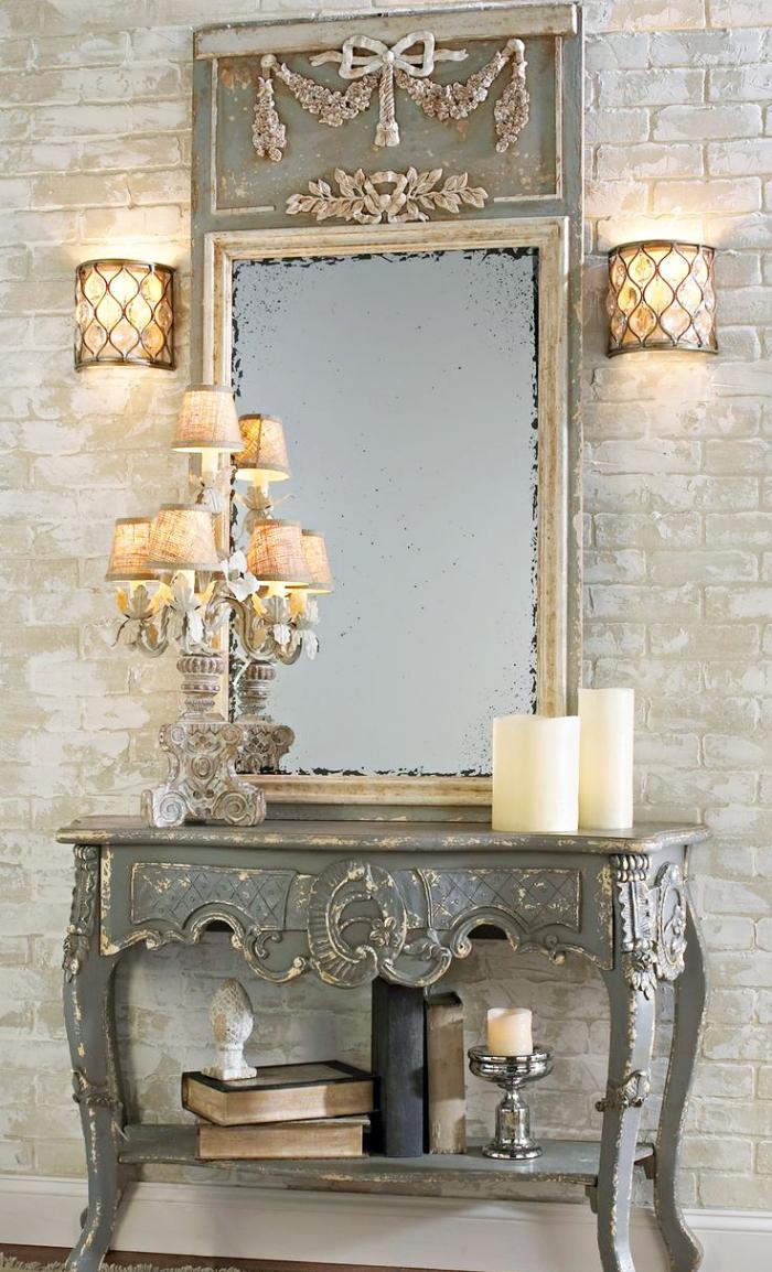 modèle de meuble entrée couloir en style vintage et shabby chic avec lampes jaune et gris sur un meuble bois usé