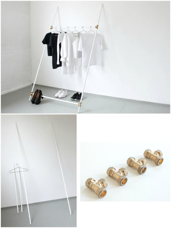 idées deco pour chambre petit espace, comment réaliser une penderie au design minimaliste en tuyaux de plomberie