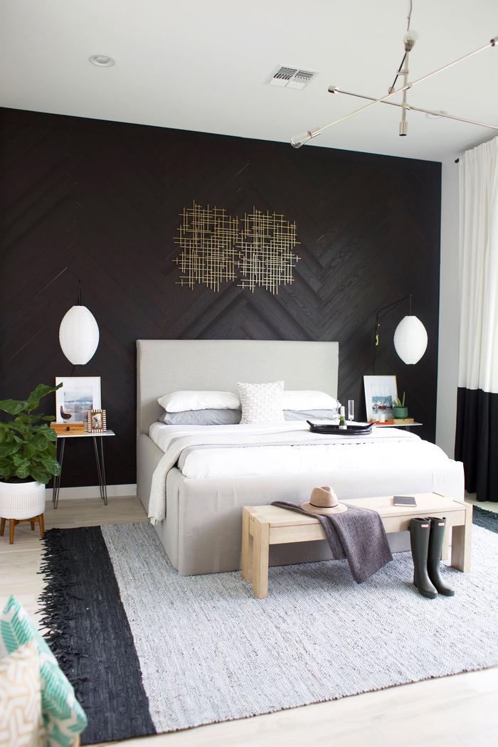 deco chambre parentale élégant et sobre en noir, blanc et nuances de gris équipé d'un bout de lit au design épuré
