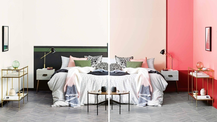 deux idées deco chambre adulte avec un mur bicolore qui dynamise l'espace de la pièce