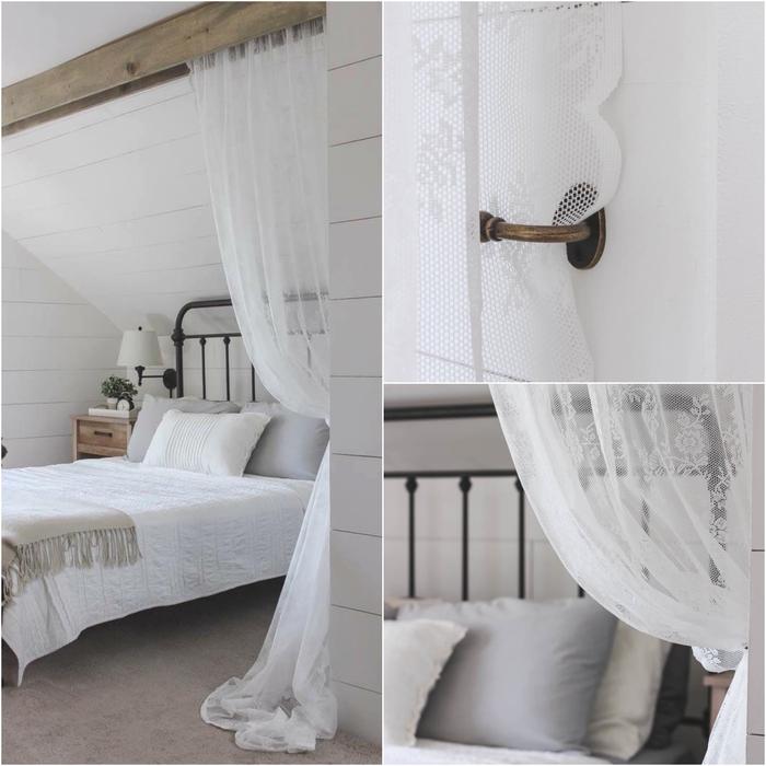 amenagement chambre sous combles dans un style rustique épuré avec un ciel de lit fait maison