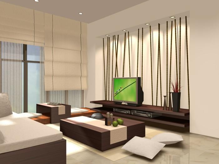 amenagement salon zen bouddhiste, stores asiatiques en couleur ivoire, plafond blanc, carrelage en ivoire, plasma installé sur une étagère en marron, table basse en forme de bloc carré bicolore marron et ivoire