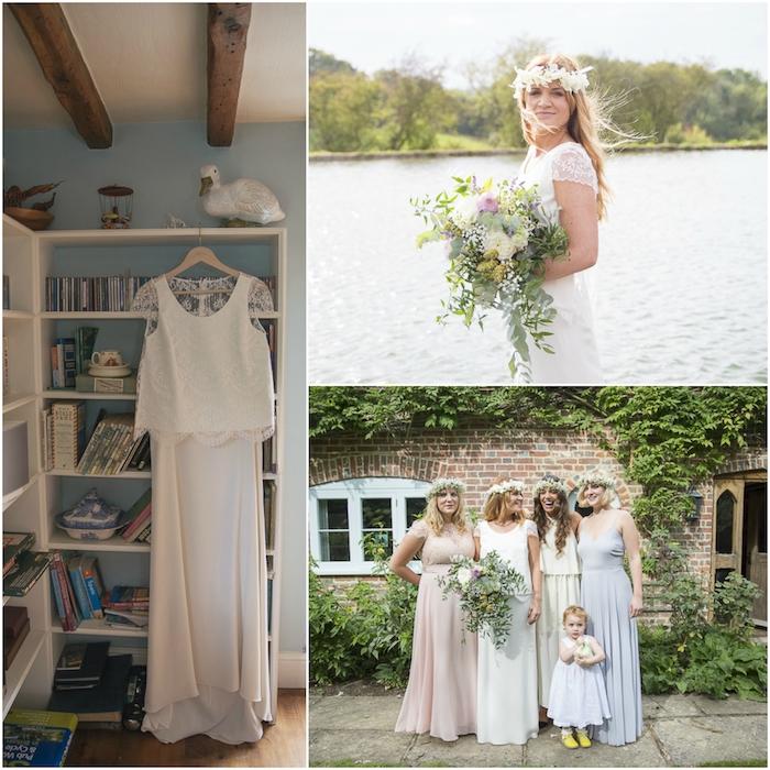 Photo de mariage la robe avant la ceremonie la mariée avec un bouquet cascade belle robe blanche vintage robe de mariée avec manche court dentelle vintage style